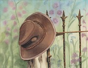 Tonya Butcher Framed Prints - Hat On The Fence Framed Print by Tonya Butcher