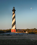 Hatteras Island Prints - Hatteras Lighthouse And Moon Print by Steven Ainsworth