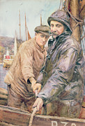 Two Fishing Men Prints - Hauling in the net Print by Henry Meynell Rheam