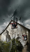 Two Story Posters - Haunted barn with ghosts flying and dark skies Poster by Sandra Cunningham