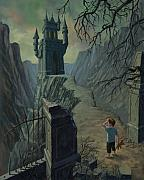 Child With Teddy Bear Prints - Haunted Castle Nightmare Print by Martin Davey