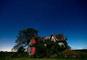 Haunted Farmhouse At Night Print by Cale Best