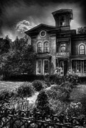 Monochrome Framed Prints - Haunted - Haunted House Framed Print by Mike Savad