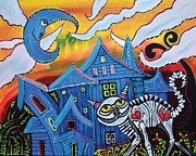 Halloween Folk Art Posters - Haunted Hollow Poster by Laura Barbosa
