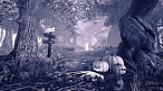 Spooky  Digital Art Originals - Haunted House BW by Marina Likholat