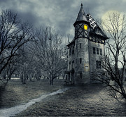 Haunted House Digital Art Metal Prints - Haunted house Metal Print by Jelena Jovanovic