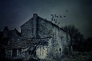 Ghostly Barn Prints - Haunted house  Print by Mohamad Itani