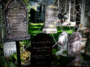 Prescott Prints - Haunted Prescott Halloween Headstones Print by Aaron Burrows