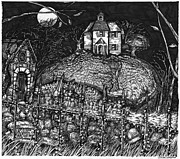 Haunted House Drawings Framed Prints - Haunted_House_on_Hill_1 Framed Print by Joseph Capuana