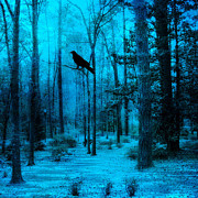 Crows In Trees Posters - Haunting Dark Blue Surreal Woodlands With Crow  Poster by Kathy Fornal