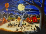Pumpkins Paintings - Hauntoberfest at Brewside Village by Christine Altmann