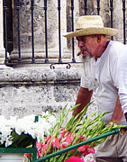 Pushcart Posters - Havana Flower Peddler Poster by Sue Sill