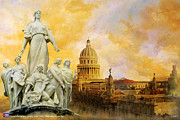 East Culture Paintings - Havana National Capitol Building by Catf