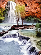 Waterfalls Paintings - Havasau Falls Painting by Nadine and Bob Johnston