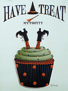 Halloween Folk Art Posters - Have A Treat My Pretty Poster by Catherine Holman