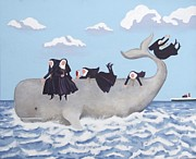 Nuns Painting Prints - Having a Whale of a Time Print by Anni Morris