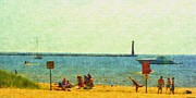 Lakeshore Drawings - Having Fun In The Sun by Rosemarie E Seppala
