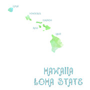 Maps Prints - Hawaii - Aloha State - Map - State Phrase - Geology Print by Andee Photography