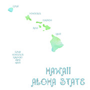 Hawaii Mixed Media Prints - Hawaii - Aloha State - Map - State Phrase - Geology Print by Andee Photography