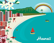 Skyline Print Posters - Hawaii Poster by Karen Young