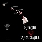 Abstract Map Posters - Hawaii Loves Baseball Poster by Andee Photography