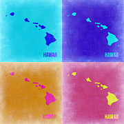 Hawaii Digital Art Framed Prints - Hawaii Pop Art Map 2 Framed Print by Irina  March