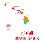 Home Design Abstract Collection - Hawaii State Map Collection 2 by Andee Photography