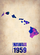 Hawaii Art - Hawaii Watercolor Map by Irina  March