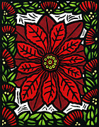 Lino Cut Metal Prints - Hawaiian Christmas Joy Metal Print by Lisa Greig