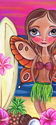 Surrealist Tapestries Textiles - Hawaiian Fairy by Jaz Higgins
