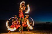 Firedancer Art - Hawaiian FIre Dancers in the Ocean by Deborah Kolb
