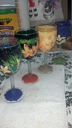 Stemware Glass Art Originals - Hawaiian flower by Dan Olszewski