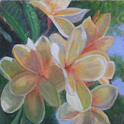 Fauna Painting Metal Prints - Hawaiian Flowers Metal Print by Patty Weeks