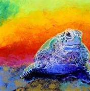 Sea Turtle Paintings - Hawaiian Honu 4 by Marionette Taboniar