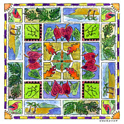 Kaleidoscope Paintings - Hawaiian Mandala IV - ANTHURIUMS by Diane Thornton
