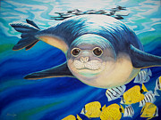 Hawai Painting Posters - Hawaiian Monk Seal for NOAA Monk Seal Recovery Program Poster by Tammy Yee