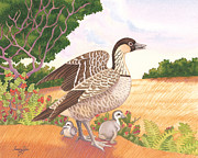 Hawai Painting Posters - Hawaiian Nene Goose and Goslings Poster by Tammy Yee