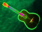 Music Lovers - Hawaiian Neon Guitar by Hanza Turgul