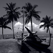 Monocromatico Prints - Hawaiian Sailing Canoe Maui Hawaii Print by Sharon Mau