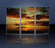 Ocean Images Posters - Hawaiian Sunset Triptych Poster by Cheryl Young