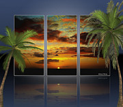 Cheryl Young - Hawaiian Sunset Triptych with Palms