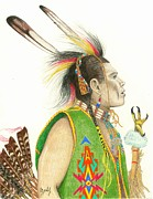 Native Americans Drawings Posters - Hawk Foot Poster by Lew Davis