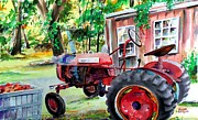 Plumbs Framed Prints - Hawk Hill Apple Tractor Framed Print by Scott Nelson