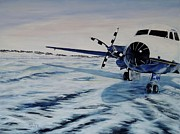 Hawker - Airplane On Ice Print by Marilyn  McNish