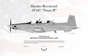 Usaf Posters - Hawker Beechcraft AT-6C Texan II Poster by Arthur Eggers