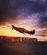 Halifax Digital Art Posters - Hawker Hurricane Over Dover by Shawna Mac Poster by Shawna Mac