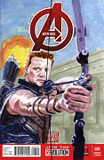 Avengers Painting Originals - Hawkeye by Ken Meyer jr