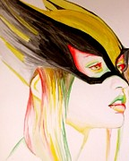 Graphic Novel Paintings - Hawkgirl by Lauren Anne