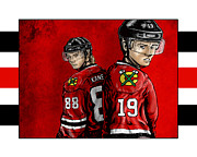 Hockey Player Framed Prints - Hawks Framed Print by Jason Meents