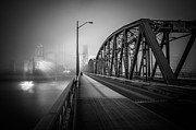 Black And White Prints Prints - Hawthorne in the Fog Print by Pensive Northwestern